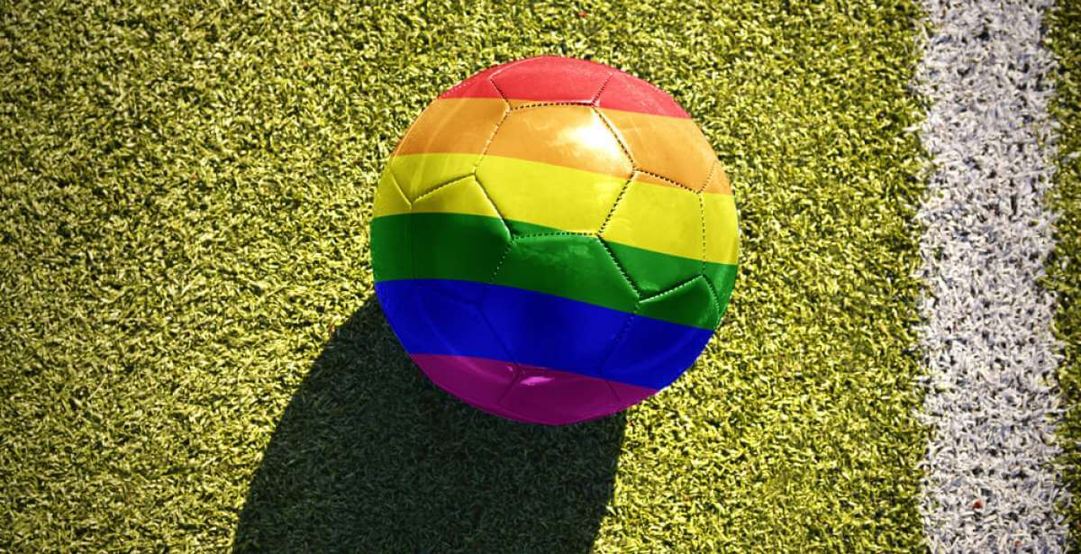 football with multicolored lines